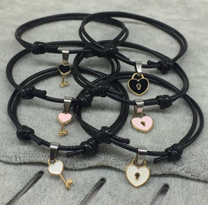 2 PCs/lot,New Arrival Couple Bracelet Alloy key Heart Lock Charm Bracelet Handmade Jewelry Rope Bracelet Lovers Gifts for Women