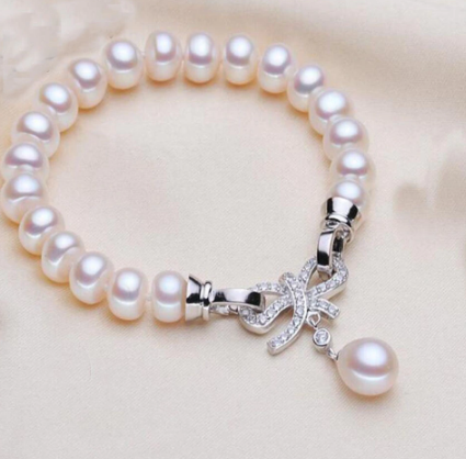 YKNRBPH High-quality Women's Freshwater Pearl Bracelet S925 Sterling Silver Weddings Bracelets Rice Pendant Fine Jewelry
