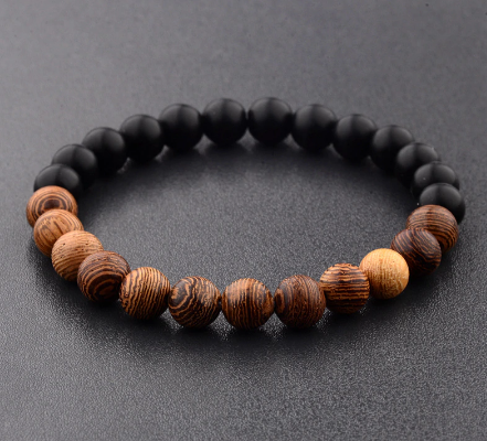 Amader 8mm New Natural Wood Beads Bracelets Men Black Ethinc Meditation White Bracelet Women Prayer Jewelry Yoga Bracelet Homme