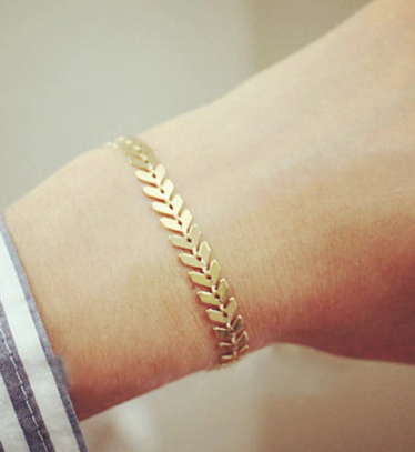 Gold Silver Metal Arrow Bracelets & Bangles for Women Punk Leaves Chain Sequin Bracelet Fishbone Airplane Flat Chain jewelry