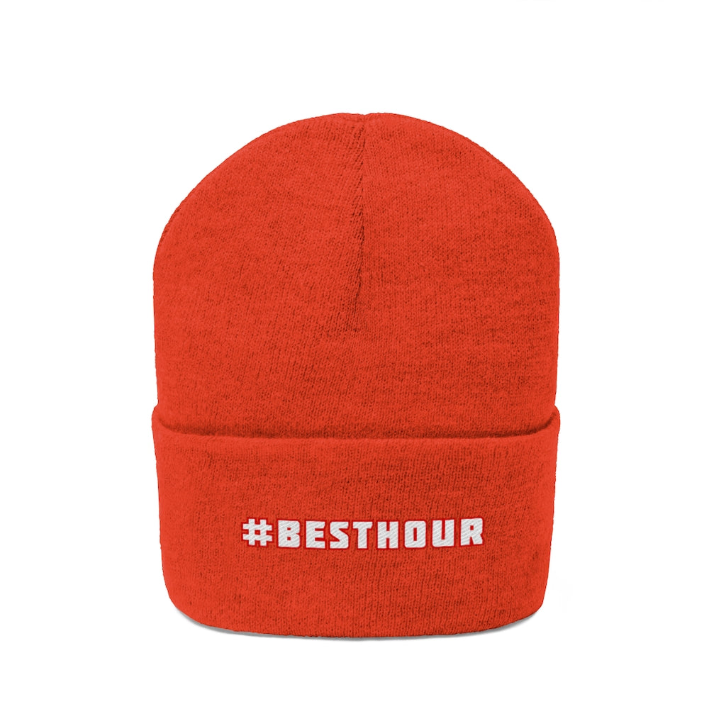 Knit Beanie - #BestHour in White with Red outline