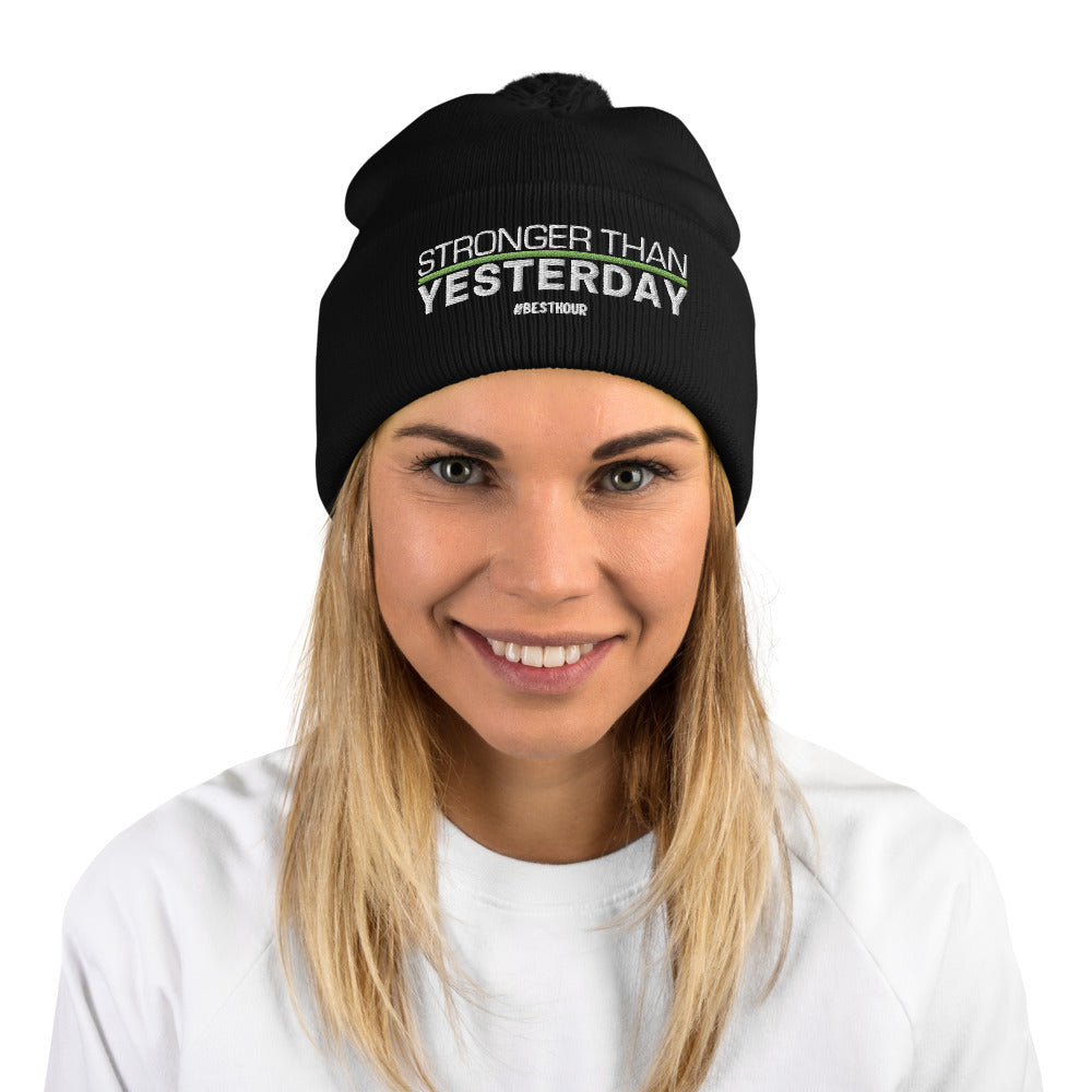 """Stronger Than Yesterday"" Pom-Pom Beanie"