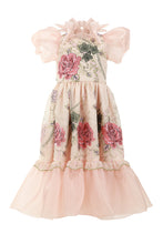 Load image into Gallery viewer, Long Pink Dress With Puff Sleeves