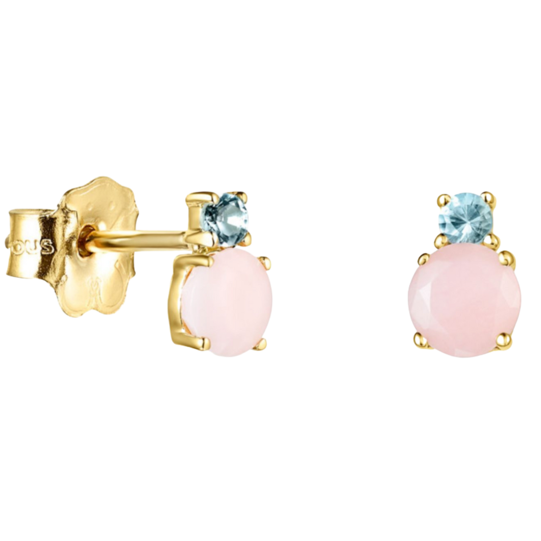 Mini Ivette Earrings In Gold With Opal And Topaz