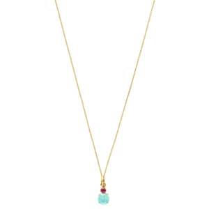 Mini Ivette Necklace In Gold With Amazonite And Ruby