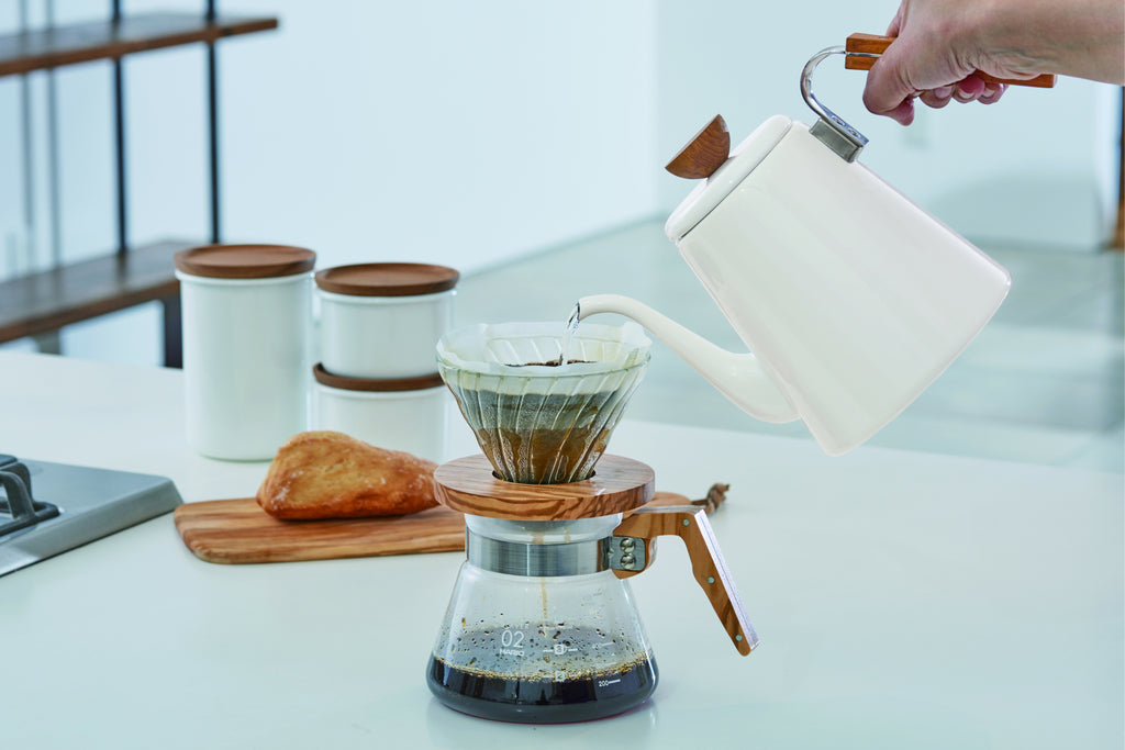 V60 coffee server in olivewood