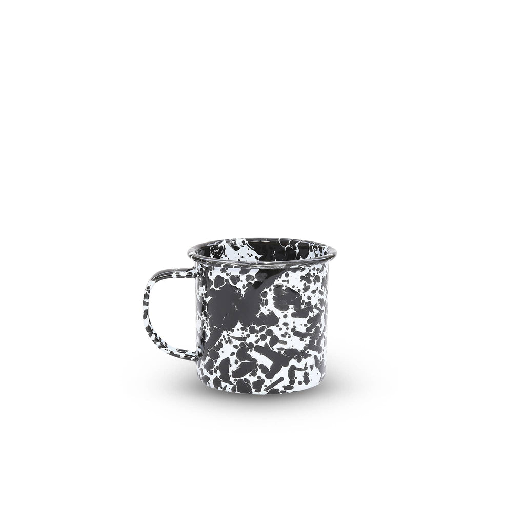 Enamel mug in splatter black and white