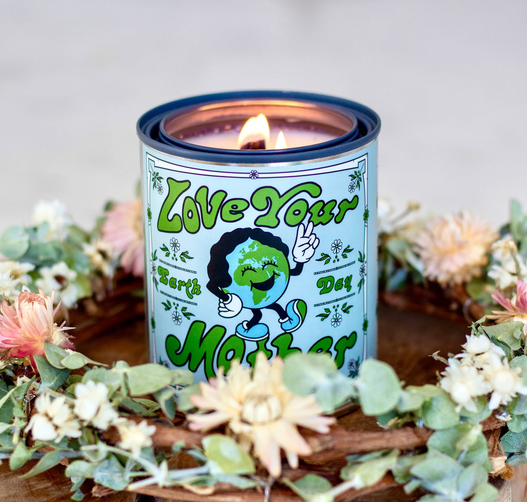 Love Your Mother Earth Day tin candle