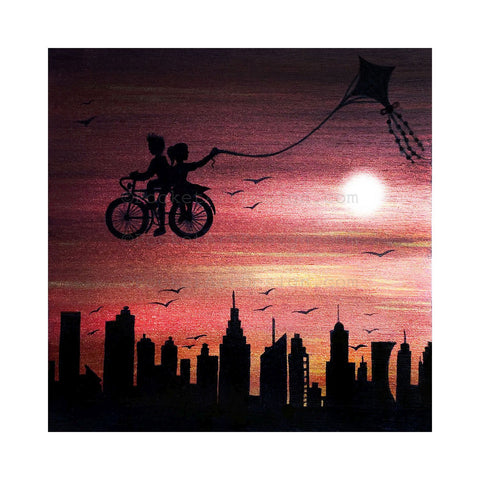 Kite bike ride above the city - sunset - silhouette Original miniature art Print on 4 x 4 wood-Print-Easel Wood-PocketArtDesigns-Original Art-wall rt