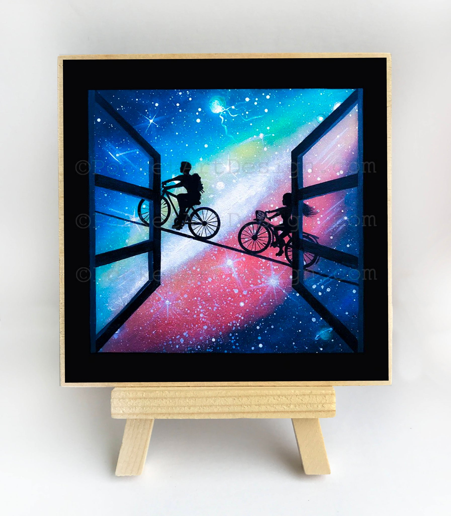 Girl and a boy bike on a rope - silhouette Original miniature art Print on 4 x 4 wood-Print-Easel Wood-PocketArtDesigns-Original Art-wall rt