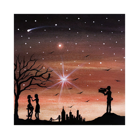 Getting ready for movie shoot - silhouette Original miniature art Print on 4 x 4 wood-Print-Easel Wood-PocketArtDesigns-Original Art-wall rt