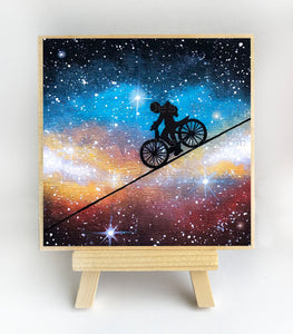 Boy bike in the galaxy - silhouette Original miniature art Print on 4 x 4 wood-Print-Easel Wood-PocketArtDesigns-Original Art-wall rt
