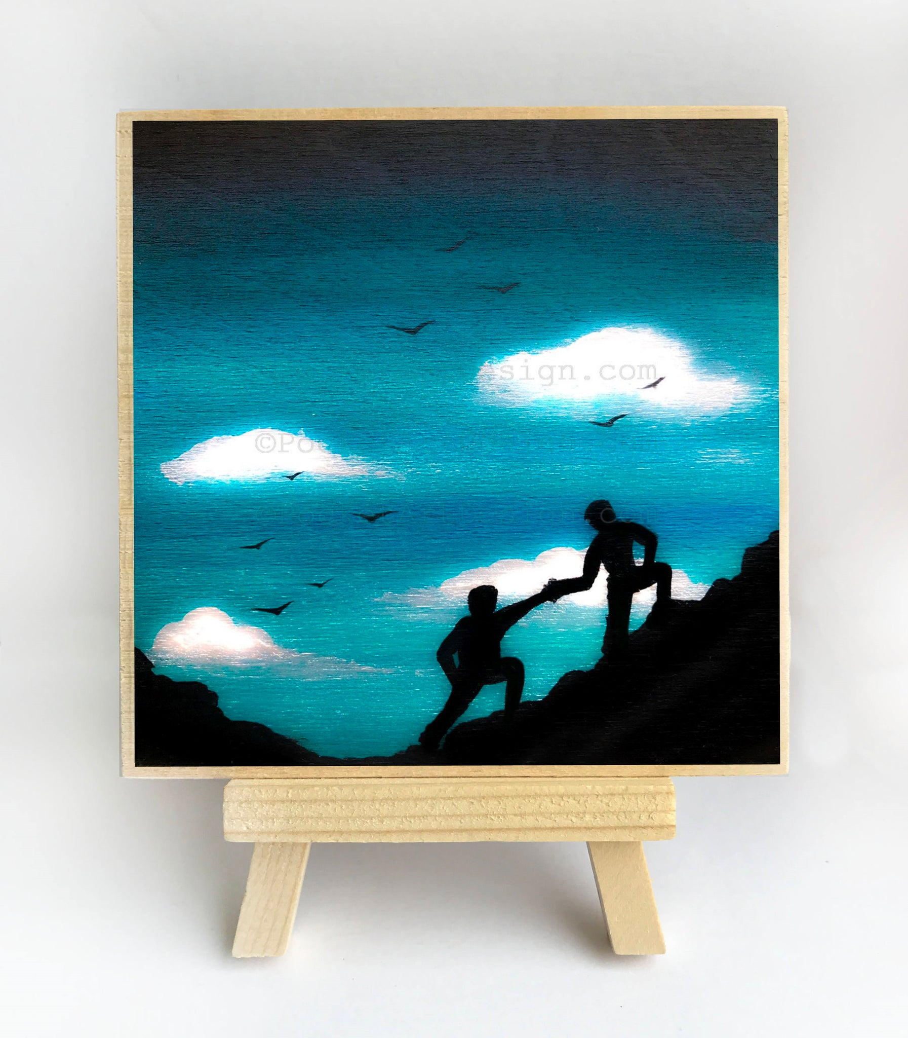 Climbing a hill - silhouette Original miniature art Print on 4 x 4 wood-Print-Easel Wood-PocketArtDesigns-Original Art-wall rt