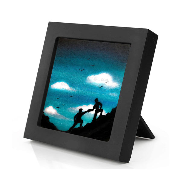 Climbing a hill - silhouette Original miniature art Print on 4 x 4 wood-Print-Mini Frame (+$5.00)-PocketArtDesigns-Original Art-wall rt