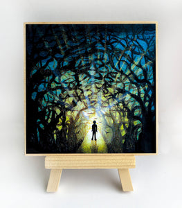 light at the end of the trees - silhouette Original miniature art Print on 4 x 4 wood-Print-Easel Wood-PocketArtDesigns-Original Art-wall rt