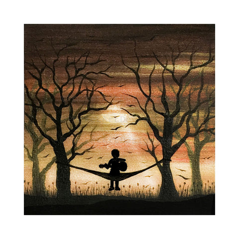 Playing on a hummock - sunset - silhouette Original miniature art Print on 4 x 4 wood-Print-Easel Wood-PocketArtDesigns-Original Art-wall rt
