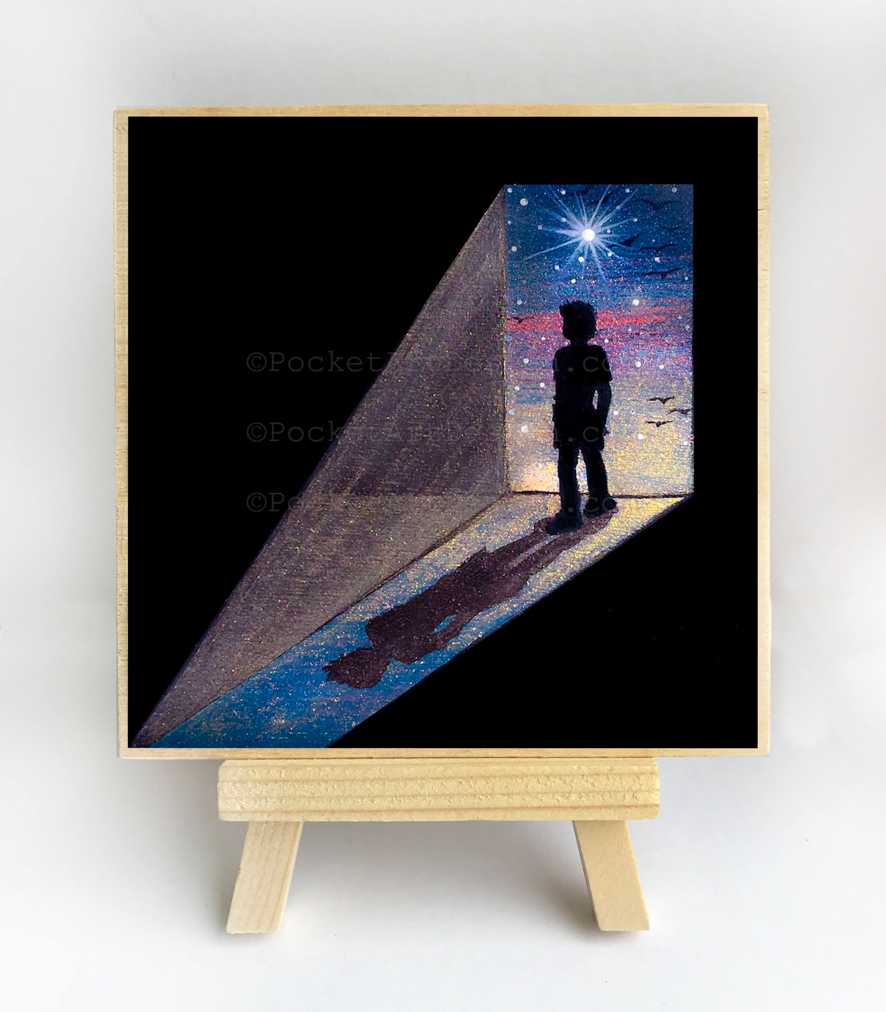 Boy standing at the door - silhouette Original miniature art Print on 4 x 4 wood-Print-Easel Wood-PocketArtDesigns-Original Art-wall rt