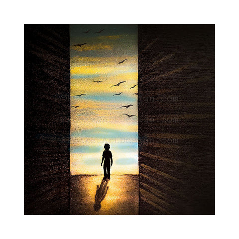 Boy looking through the door - night - silhouette Original miniature art Print on 4 x 4 wood-Print-Easel Wood-PocketArtDesigns-Original Art-wall rt