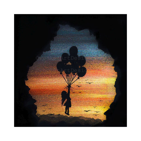 Girl flying balloons - cave - silhouette Original miniature art Print on 4 x 4 wood-Print-Easel Wood-PocketArtDesigns-Original Art-wall rt