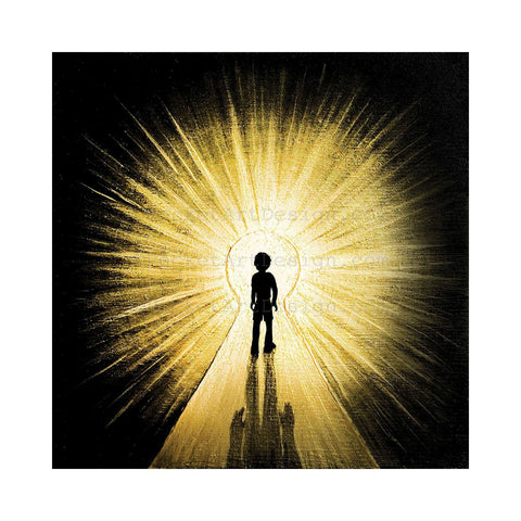 Boy walking to the light - silhouette Original miniature art Print on 4 x 4 wood-Print-Easel Wood-PocketArtDesigns-Original Art-wall rt