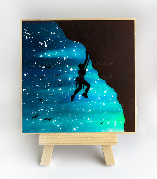 Rock climbing - silhouette Original miniature art Print on 4 x 4 wood-Print-Easel Wood-PocketArtDesigns-Original Art-wall rt