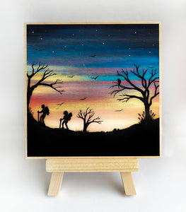 Hiking - sunset - silhouette Original miniature art Print on 4 x 4 wood-Print-Easel Wood-PocketArtDesigns-Original Art-wall rt