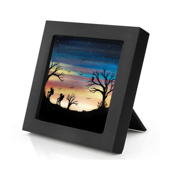 Hiking - sunset - silhouette Original miniature art Print on 4 x 4 wood-Print-Mini Frame (+$5.00)-PocketArtDesigns-Original Art-wall rt