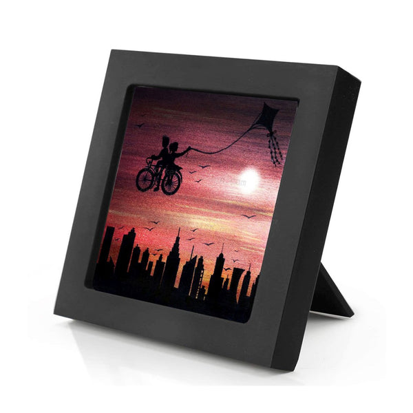 Kite bike ride above the city - sunset - silhouette - original miniature art Print on 4 x 4 wood-Print-Mini Frame (+$5.00)-PocketArtDesigns-Original Art-wall rt