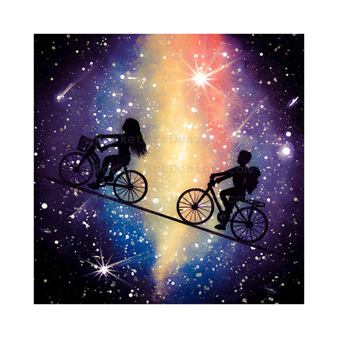 Bike ride in the sky - night - silhouette - original miniature art print on 4 x 4 wood-Print-Easel Wood-PocketArtDesigns-Original Art-wall rt