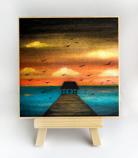 Swing in front of the ocean - sunset - silhouette - original miniature art print on 4 x 4 wood-Print-Easel Wood-PocketArtDesigns-Original Art-wall rt