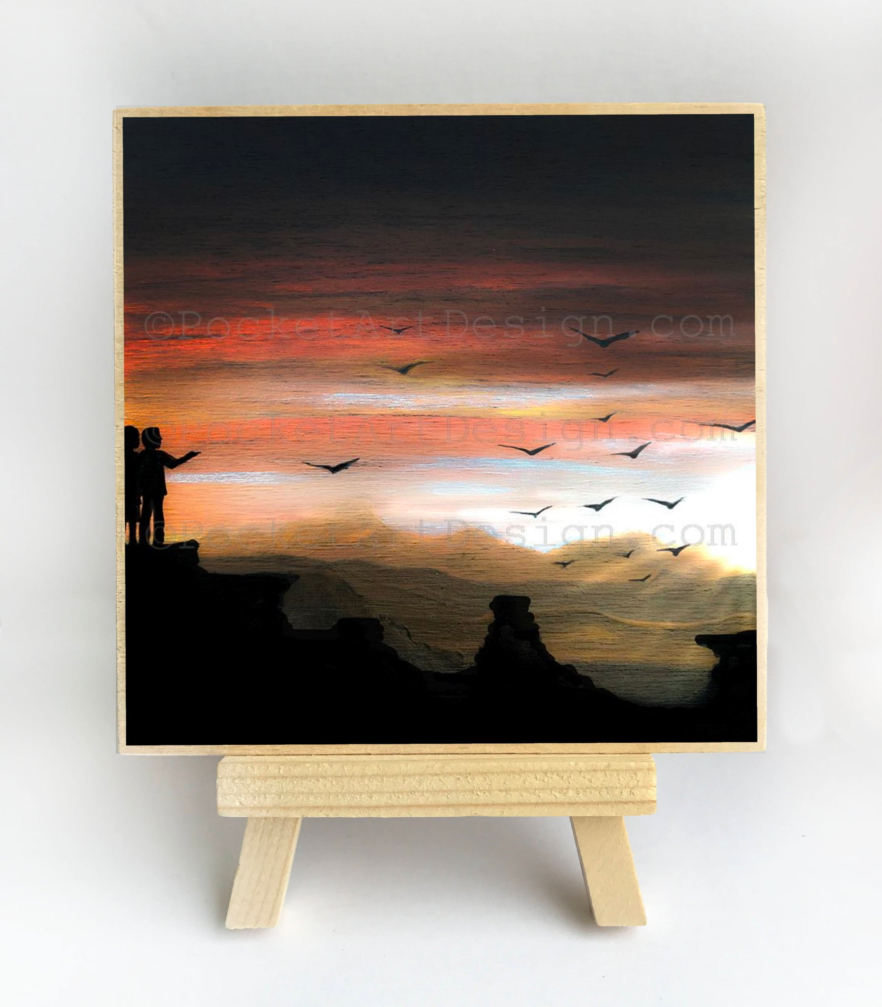 Watching the sunset - silhouette - original miniature art print on 4 x 4 wood-Print-Easel Wood-PocketArtDesigns-Original Art-wall rt