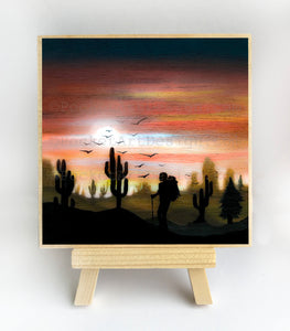 Walking in the sunset - silhouette - original miniature art print on 4 x 4 wood-Print-Easel Wood-PocketArtDesigns-Original Art-wall rt