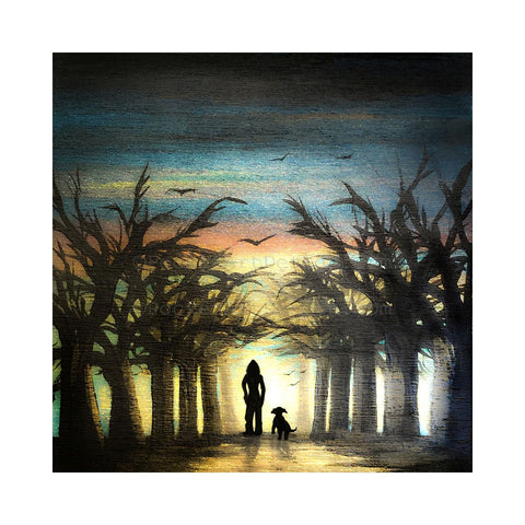Woman and a dog watching the sunset - silhouette - original miniature art print on 4 x 4 wood-Print-Easel Wood-PocketArtDesigns-Original Art-wall rt