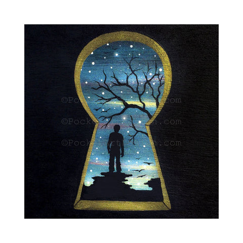 Man through keyhole - night - silhouette - original miniature art print on 4 x 4 wood-Print-Easel Wood-PocketArtDesigns-Original Art-wall rt
