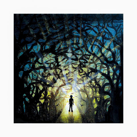 Boy in the forest - night - silhouette - original miniature art print on 4 x 4 wood-Print-Easel Wood-PocketArtDesigns-Original Art-wall rt