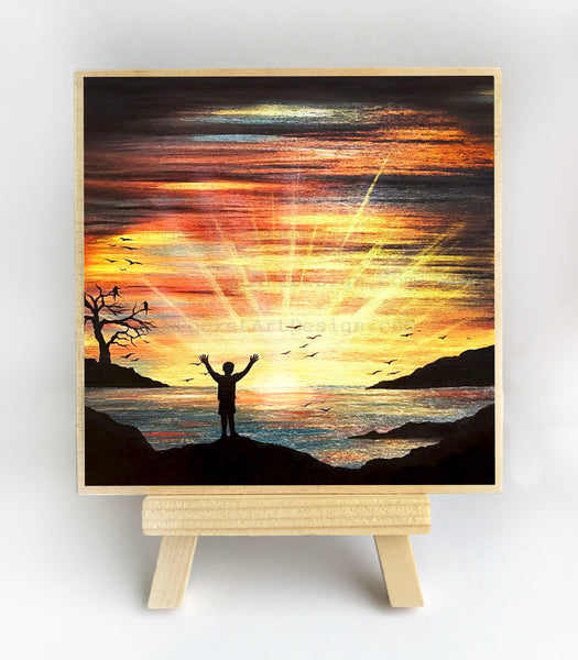 Watching the sunset over the ocean - silhouette - original miniature art print on 4 x 4 wood-Print-Easel Wood-PocketArtDesigns-Original Art-wall rt