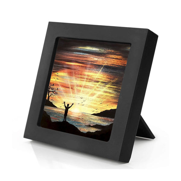 Watching the sunset over the ocean - silhouette - original miniature art print on 4 x 4 wood-Print-Mini Frame (+$5.00)-PocketArtDesigns-Original Art-wall rt