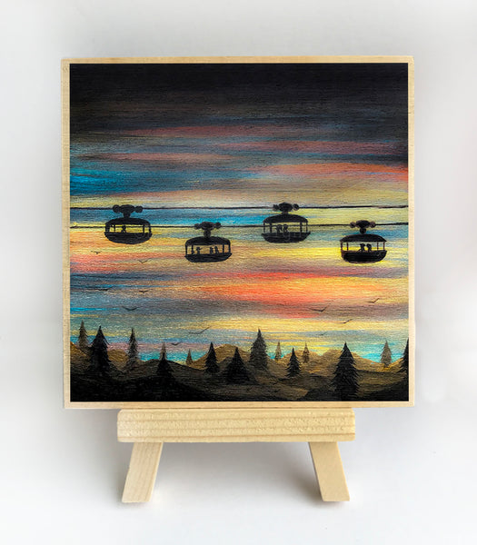 Cable car ride - sunset - silhouette - original miniature art print on 4 x 4 wood-Print-Easel Wood-PocketArtDesigns-Original Art-wall rt