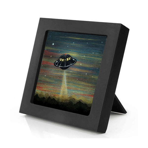 UFO night - silhouette - original miniature art print on 4 x 4 wood-Print-Mini Frame (+$5.00)-PocketArtDesigns-Original Art-wall rt