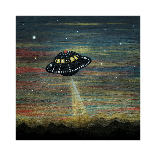 UFO night - silhouette - original miniature art print on 4 x 4 wood-Print-Easel Wood-PocketArtDesigns-Original Art-wall rt