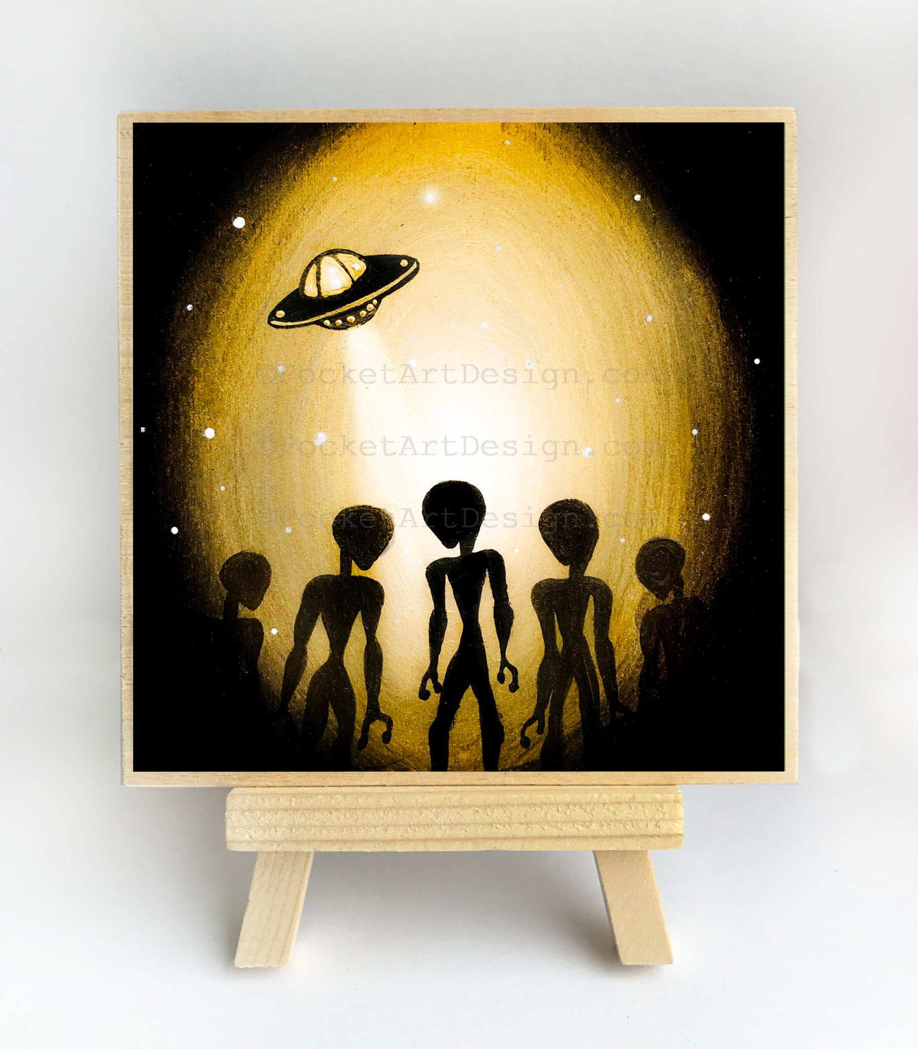 Aliens - night - silhouette - original miniature art print on 4 x 4 wood-Print-Easel Wood-PocketArtDesigns-Original Art-wall rt