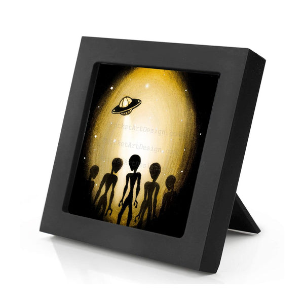 Aliens - night - silhouette - original miniature art print on 4 x 4 wood-Print-Mini Frame (+$5.00)-PocketArtDesigns-Original Art-wall rt