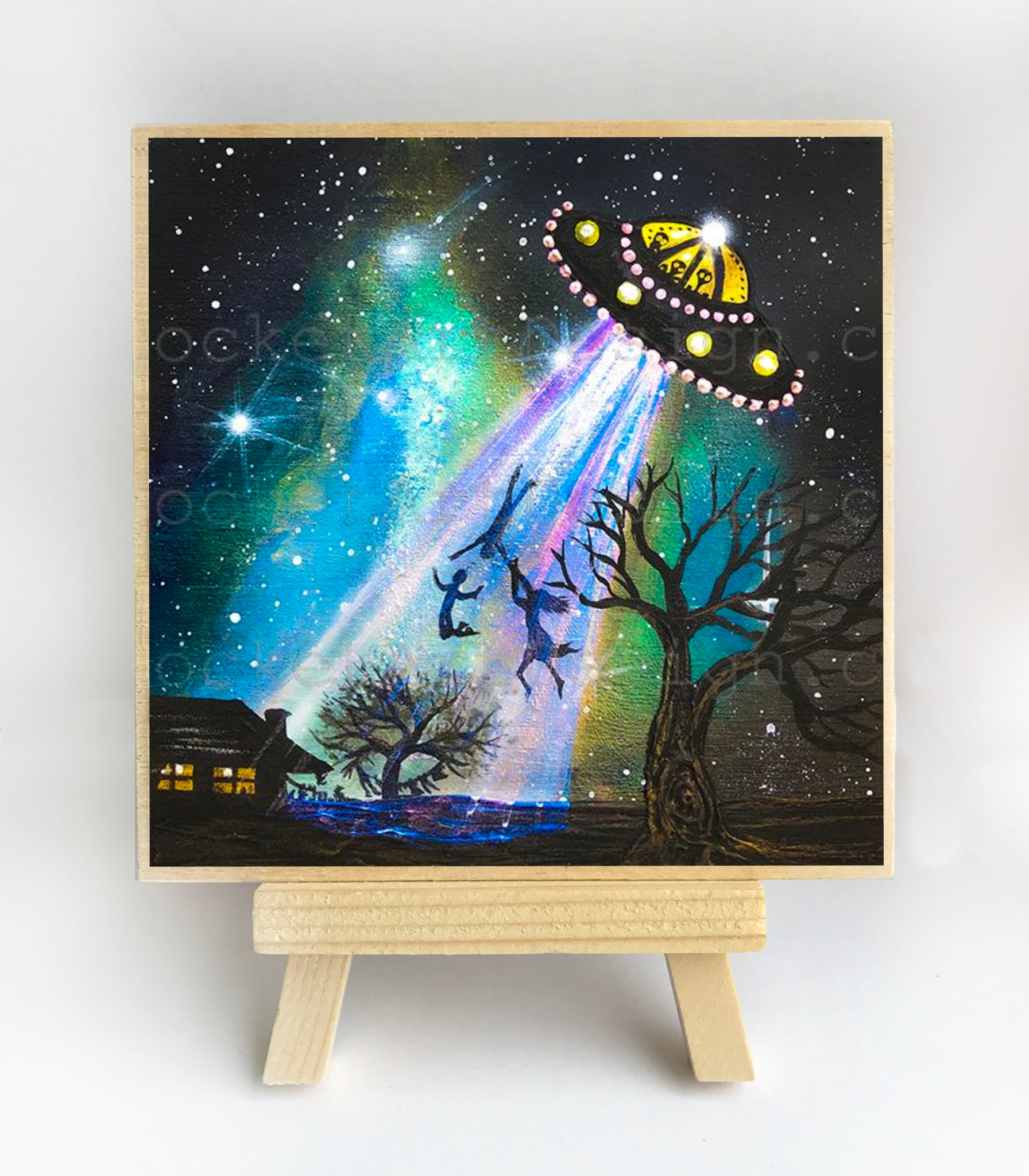 UFO arrives - night - silhouette - original miniature art print on 4 x 4 wood-Print-Easel Wood-PocketArtDesigns-Original Art-wall rt