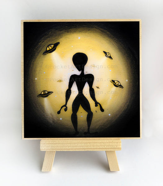 Alien - night - silhouette - original miniature art print on 4 x 4 wood-Print-Easel Wood-PocketArtDesigns-Original Art-wall rt