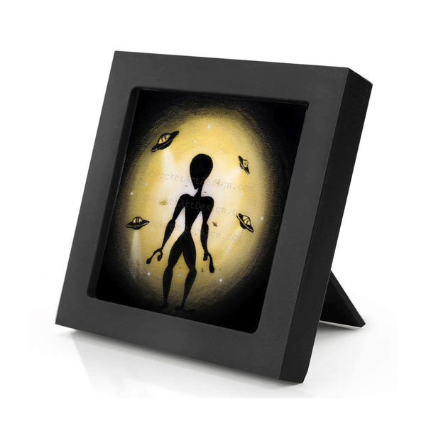 Alien - night - silhouette - original miniature art print on 4 x 4 wood-Print-Mini Frame (+$5.00)-PocketArtDesigns-Original Art-wall rt