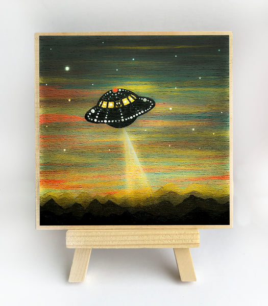 UFO arrives - sunset - silhouette - original miniature art print on 4 x 4 wood-Print-Easel Wood-PocketArtDesigns-Original Art-wall rt
