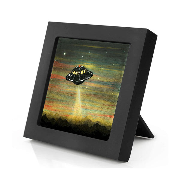 UFO arrives - sunset - silhouette - original miniature art print on 4 x 4 wood-Print-Mini Frame (+$5.00)-PocketArtDesigns-Original Art-wall rt