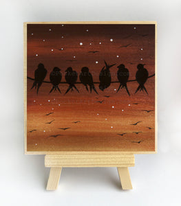 "Birds on a wire - sunset- silhouette - Original miniature art Print on 4""x 4"" wood-Print-Easel Wood-PocketArtDesigns-Original Art-wall rt"