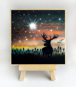 Deer - night - silhouette - original miniature art print on 4 x 4 wood-Print-Easel Wood-PocketArtDesigns-Original Art-wall rt