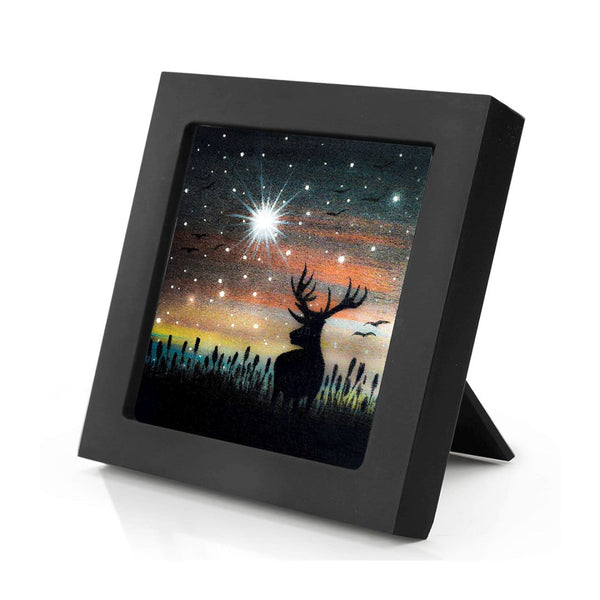 Deer - night - silhouette - original miniature art print on 4 x 4 wood-Print-Mini Frame (+$5.00)-PocketArtDesigns-Original Art-wall rt